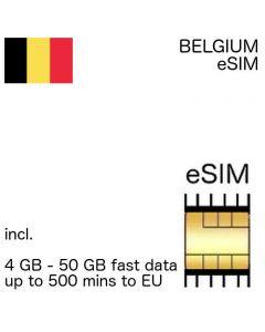 eSIM Belgium incl. 1GB - 50GB and up to 500 EU minutes