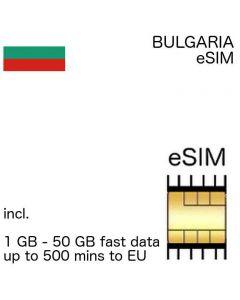 eSIM Bulgaria incl. 1 GB - 50 GB and up to 500 EU minutes
