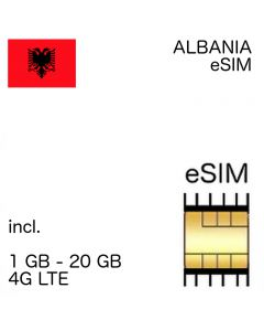Albania eSIM  incl. 1GB - 20 GB up to 360 days and EU