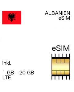 Albanien eSIM inkl. 1- 10 GB - EU und Nachbar Länder