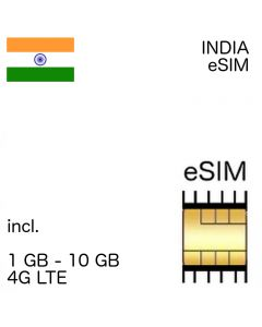 India eSIM incl. 1GB - 10 GB