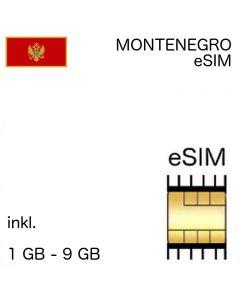 Montenegro eSIM inkl. 1 - 9 GB - kein Ausweis nötig