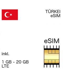 Türkei eSIM - 1- 20 GB - kein Ausweis nötig