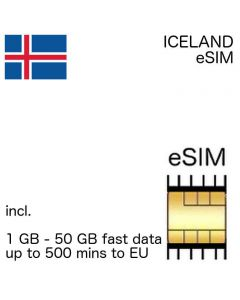 eSIM Iceland incl. 1 GB - 50 GB and up to 500 EU minutes