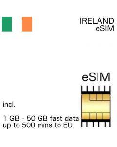 eSIM Ireland incl. 1 GB - 50 GB and up to 500 EU minutes