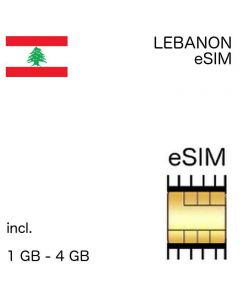 eSIM Lebanon  1 - 4 GB - no ID required